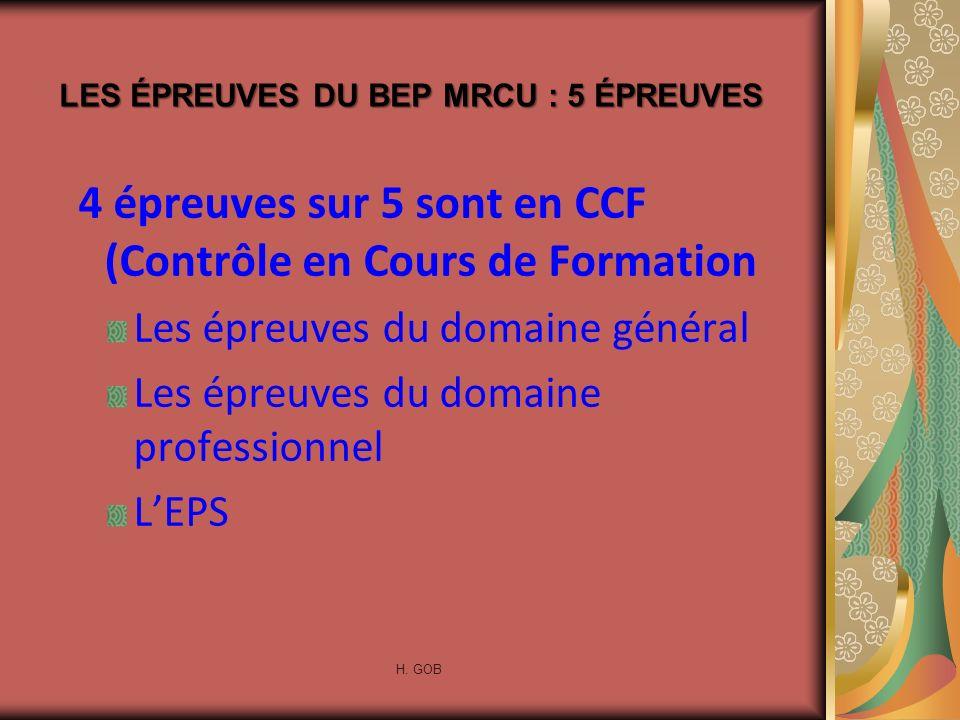 4 épreuves sur 5 sont en CCF (Contrôle en Cours de Formation Les épreuves du domaine général Les épreuves du domaine professionnel LEPS LES ÉPREUVES D