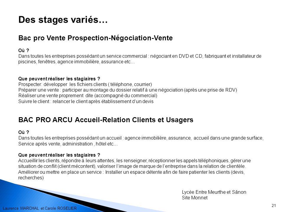 21 Des stages variés… Bac pro Vente Prospection-Négociation-Vente Où .