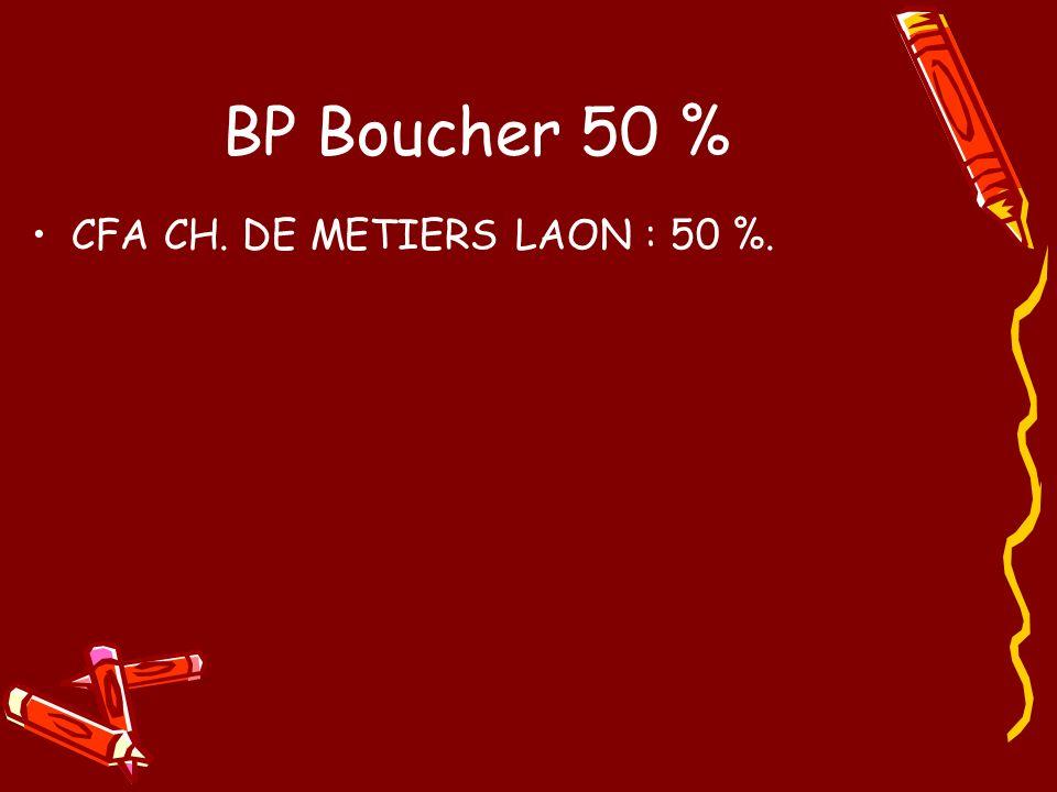 BP Boucher 50 % CFA CH. DE METIERS LAON : 50 %.