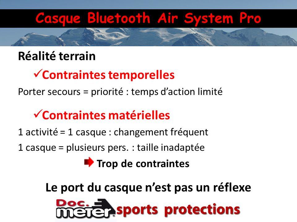 Casque Bluetooth Air System Pro Réalité terrain Contraintes temporelles Porter secours = priorité : temps daction limité Contraintes matérielles 1 act