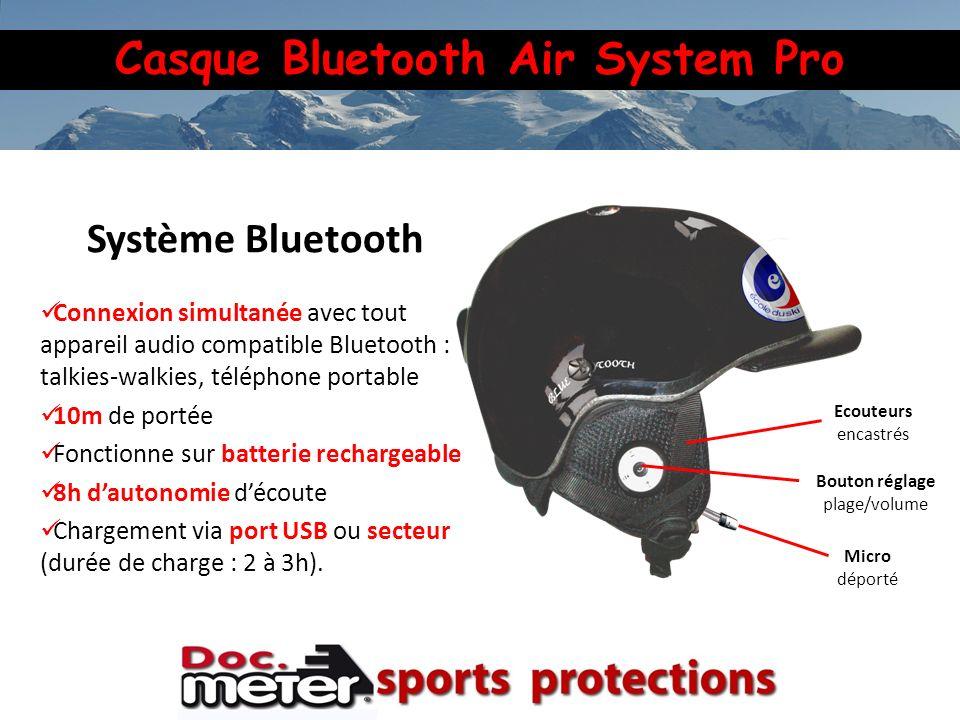 Casque Bluetooth Air System Pro Micro déporté Bouton réglage plage/volume Ecouteurs encastrés Système Bluetooth Connexion simultanée avec tout apparei