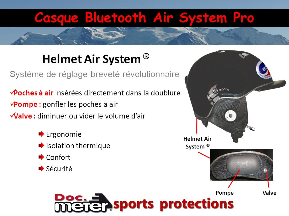 Casque Bluetooth Air System Pro Helmet Air System ® PompeValve Helmet Air System ® Système de réglage breveté révolutionnaire Poches à air insérées di