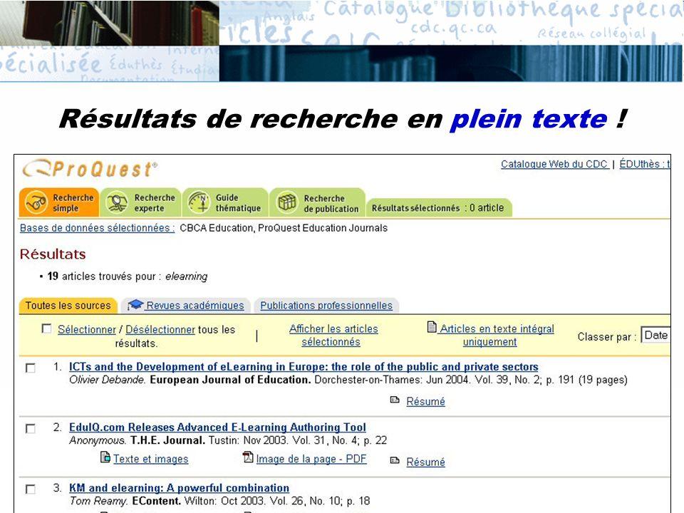 Résultats de recherche en plein texte !