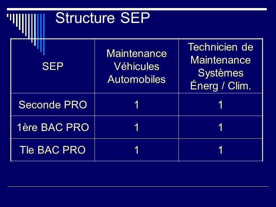 Structure SEPSEP Maintenance Véhicules Automobiles Technicien de Maintenance Systèmes Énerg / Clim.