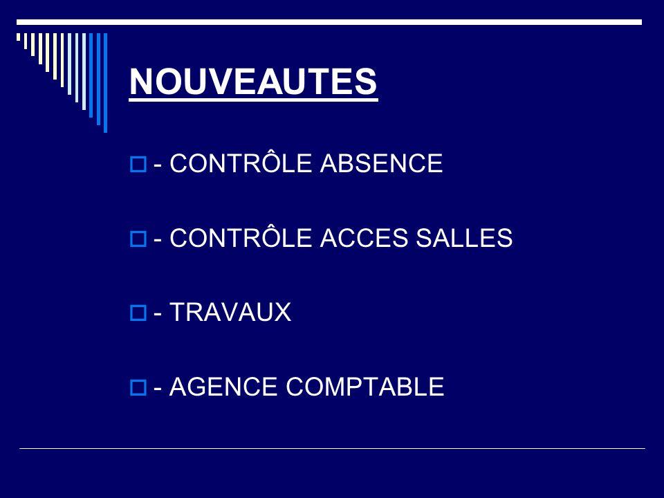 NOUVEAUTES - CONTRÔLE ABSENCE - CONTRÔLE ACCES SALLES - TRAVAUX - AGENCE COMPTABLE