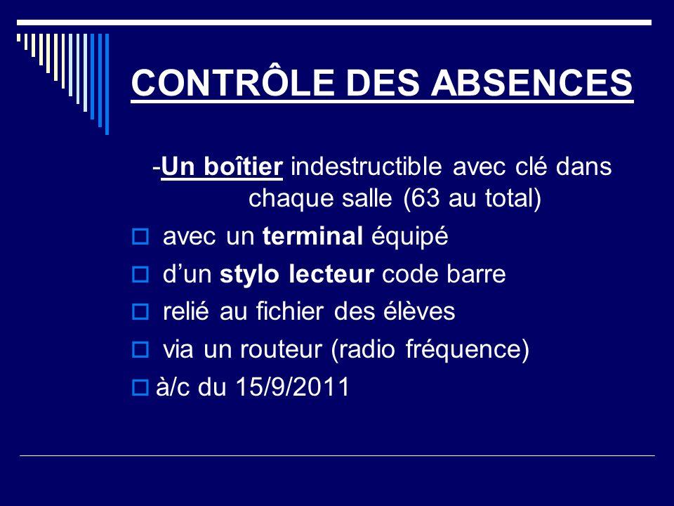 CONTRÔLE DES ABSENCES -Un boîtier indestructible avec clé dans chaque salle (63 au total) avec un terminal équipé dun stylo lecteur code barre relié au fichier des élèves via un routeur (radio fréquence) à/c du 15/9/2011