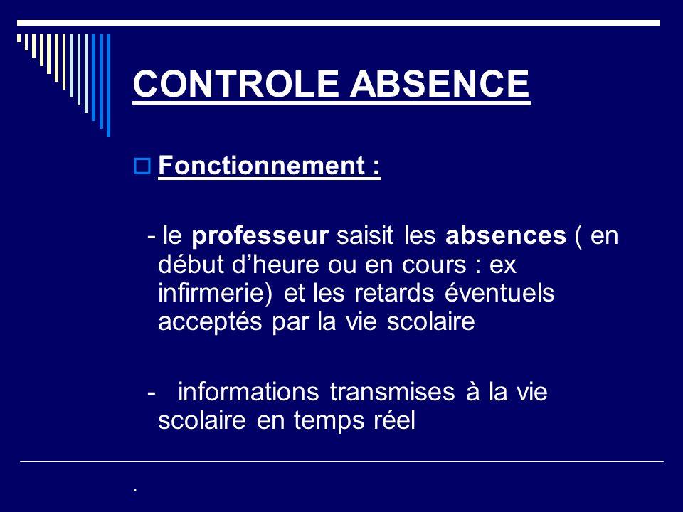 CONTROLE ABSENCE Fonctionnement : - le professeur saisit les absences ( en début dheure ou en cours : ex infirmerie) et les retards éventuels acceptés par la vie scolaire - informations transmises à la vie scolaire en temps réel.