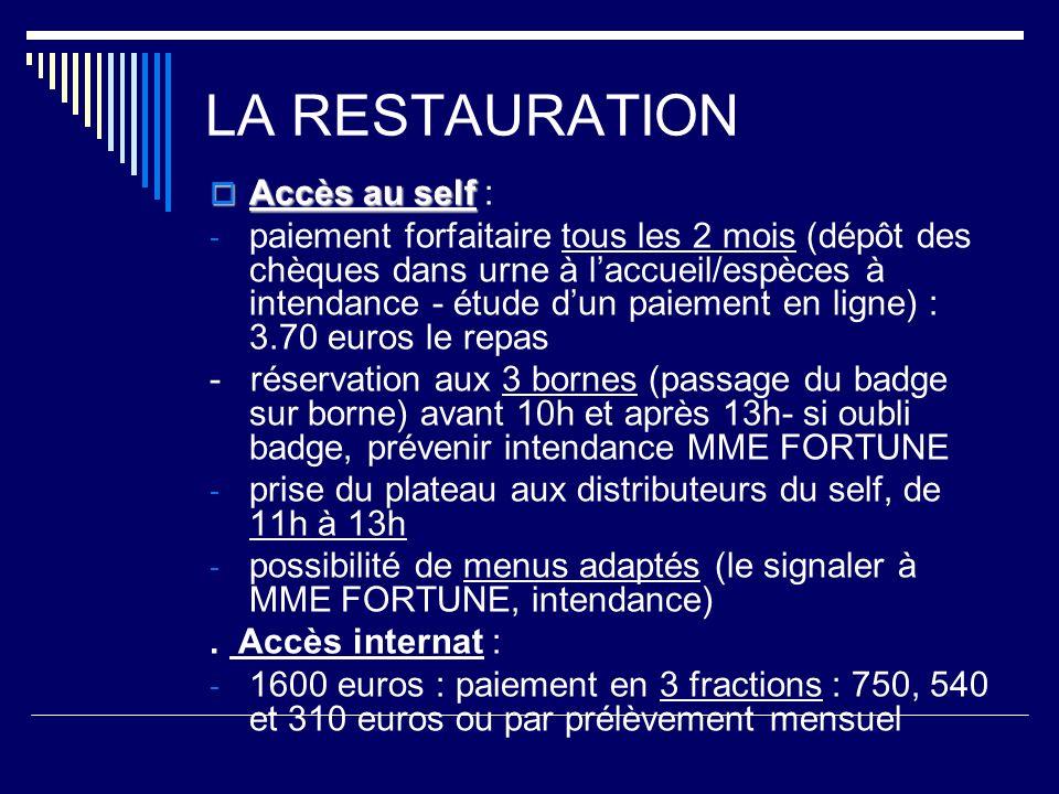 LA RESTAURATION Accès au self Accès au self : - paiement forfaitaire tous les 2 mois (dépôt des chèques dans urne à laccueil/espèces à intendance - étude dun paiement en ligne) : 3.70 euros le repas - réservation aux 3 bornes (passage du badge sur borne) avant 10h et après 13h- si oubli badge, prévenir intendance MME FORTUNE - prise du plateau aux distributeurs du self, de 11h à 13h - possibilité de menus adaptés (le signaler à MME FORTUNE, intendance).