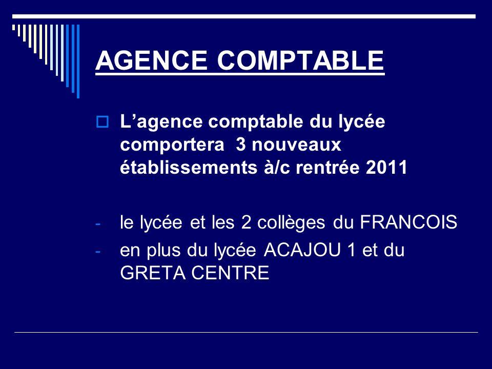 AGENCE COMPTABLE Lagence comptable du lycée comportera 3 nouveaux établissements à/c rentrée 2011 - le lycée et les 2 collèges du FRANCOIS - en plus du lycée ACAJOU 1 et du GRETA CENTRE