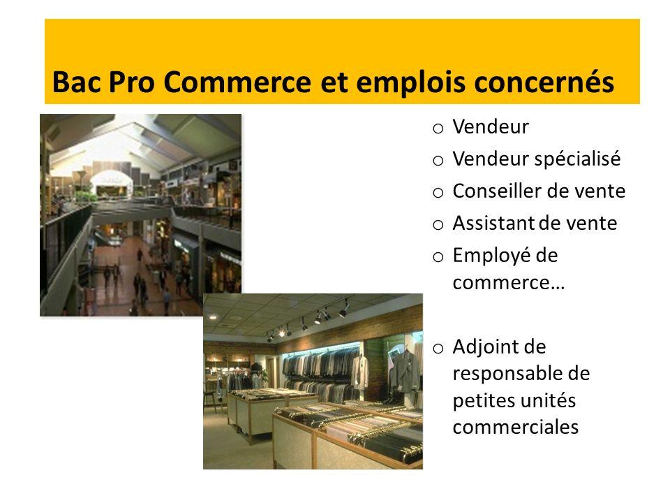 o Vendeur o Vendeur spécialisé o Conseiller de vente o Assistant de vente o Employé de commerce… o Adjoint de responsable de petites unités commerciales Bac Pro Commerce et emplois concernés