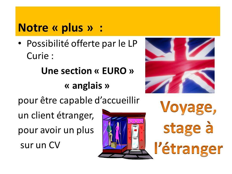 Possibilité offerte par le LP Curie : Une section « EURO » « anglais » pour être capable daccueillir un client étranger, pour avoir un plus sur un CV