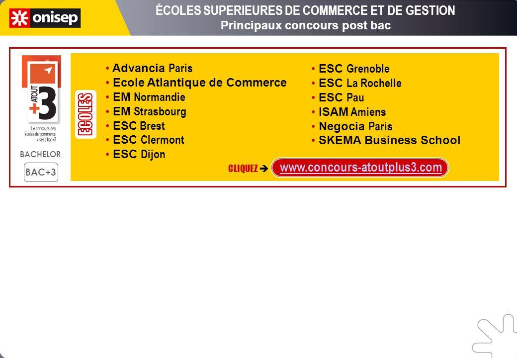 ÉCOLES SUPERIEURES DE COMMERCE ET DE GESTION Principaux concours post bac www.concours-atoutplus3.com CLIQUEZ Advancia Paris Ecole Atlantique de Comme