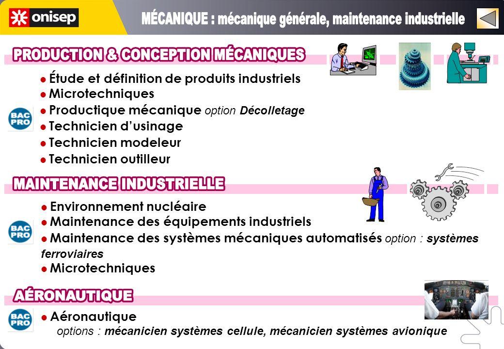 Étude et définition de produits industriels Microtechniques Productique mécanique option Décolletage Technicien dusinage Technicien modeleur Technicie