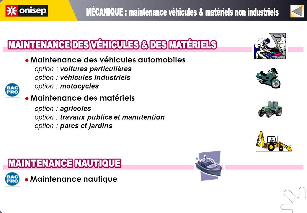 Maintenance des véhicules automobiles option : voitures particulières option : véhicules industriels option : motocycles Maintenance des matériels option : agricoles option : travaux publics et manutention option : parcs et jardins Maintenance nautique