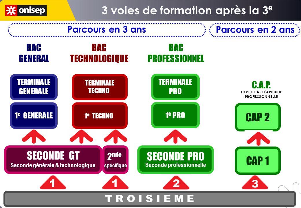 SECONDE PRO Seconde professionnelle T R O I S I E M E SECONDE GT Seconde générale & technologique 1 e PRO TERMINALE PRO CAP 1 CAP 2 12 2 3 BAC GENERAL
