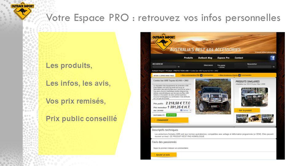 Votre Espace PRO : retrouvez vos infos personnelles Les produits, Les infos, les avis, Vos prix remisés, Prix public conseillé