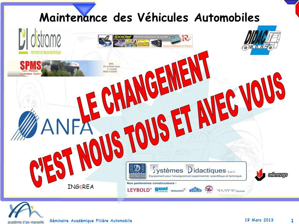1 Séminaire Académique Filière Automobile 19 Mars 2013 Maintenance des Véhicules Automobiles ING E REA
