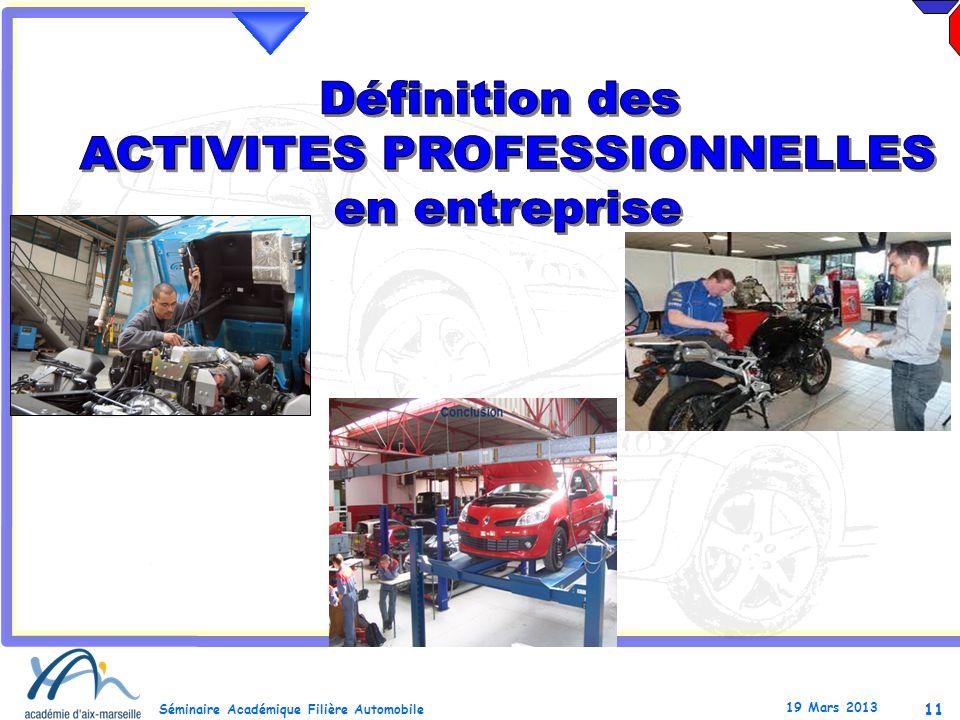 11 Séminaire Académique Filière Automobile 19 Mars 2013