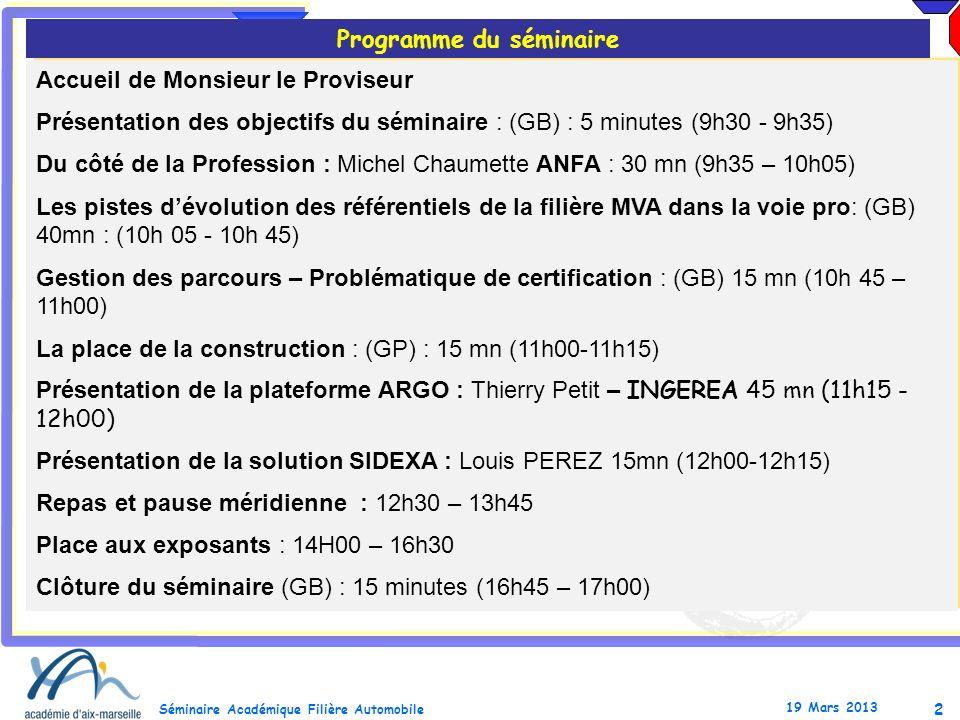 2 Séminaire Académique Filière Automobile 19 Mars 2013 Accueil de Monsieur le Proviseur Présentation des objectifs du séminaire : (GB) : 5 minutes (9h