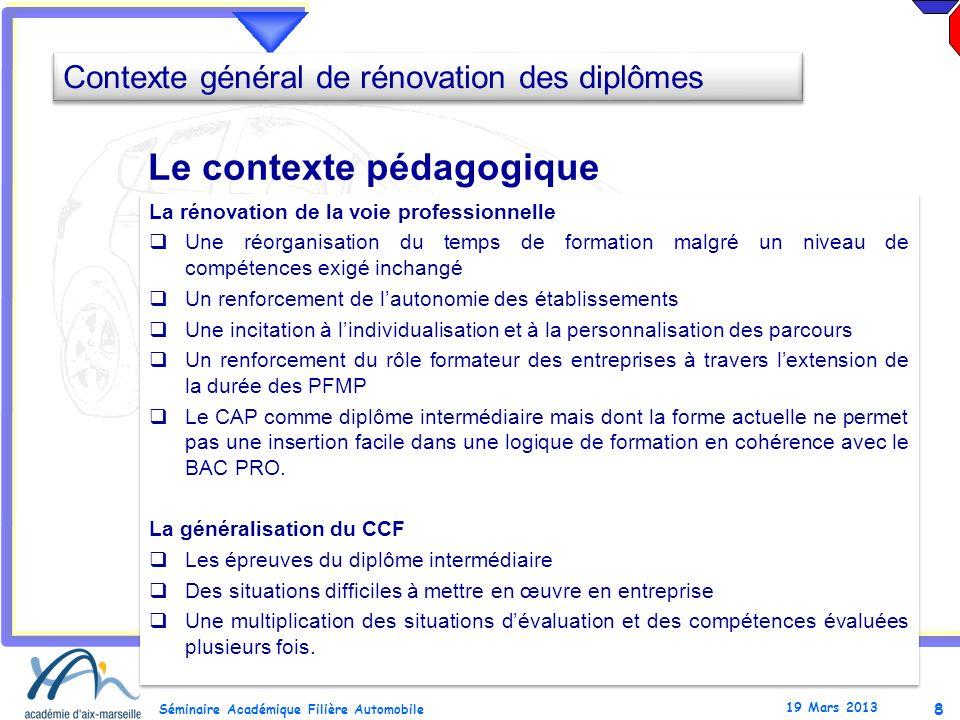 8 Séminaire Académique Filière Automobile 19 Mars 2013 La rénovation de la voie professionnelle Une réorganisation du temps de formation malgré un niv