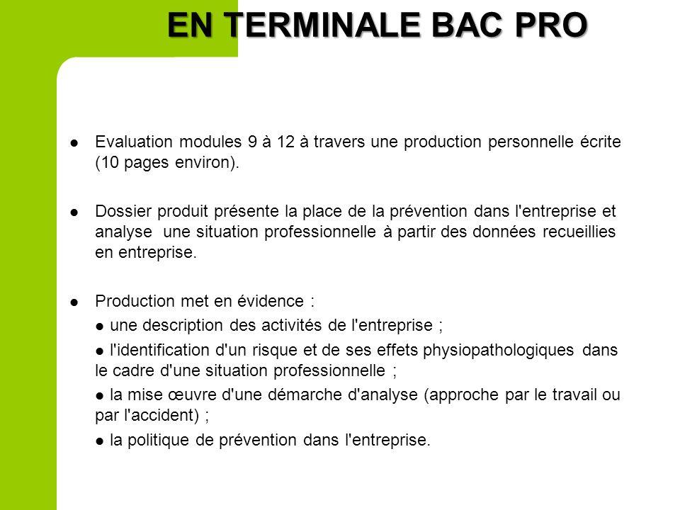 EN PREMIERE BAC PRO Evaluation écrite 1 heure sur 9 points Evaluation écrite 1 heure sur 9 points Evaluation des connaissances et capacités relative à