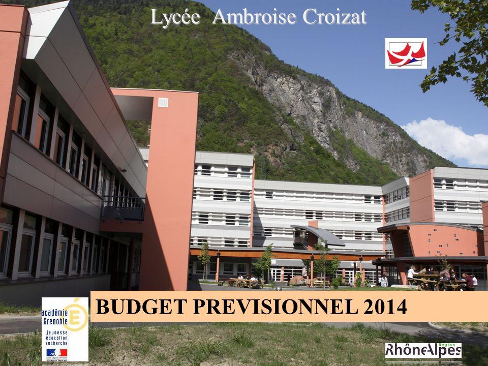 Lycée Ambroise Croizat BUDGET PREVISIONNEL 2014