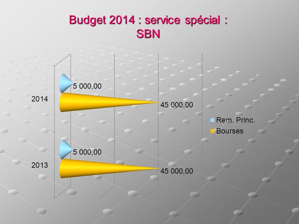 Budget 2014 : service spécial : SBN