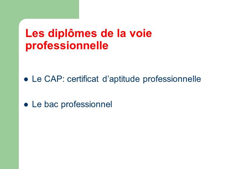 Les diplômes de la voie professionnelle Le CAP: certificat daptitude professionnelle Le bac professionnel