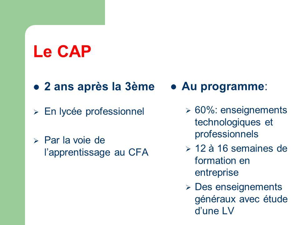 Le CAP 2 ans après la 3ème En lycée professionnel Par la voie de lapprentissage au CFA Au programme: 60%: enseignements technologiques et professionnels 12 à 16 semaines de formation en entreprise Des enseignements généraux avec étude dune LV