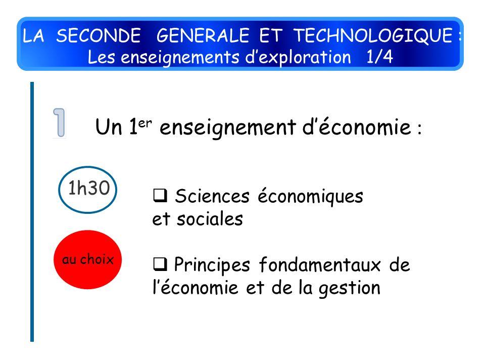 au choix 1h30 Un 1 er enseignement déconomie : Sciences économiques et sociales Principes fondamentaux de léconomie et de la gestion LA SECONDE GENERALE ET TECHNOLOGIQUE : Les enseignements dexploration 1/4