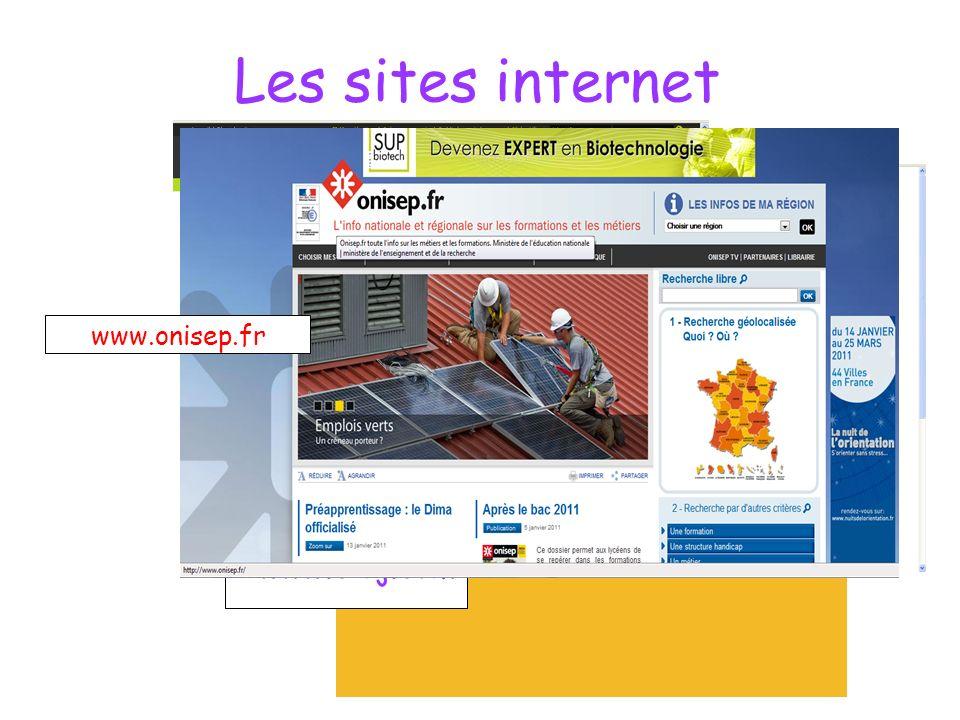 Les sites internet www.métiers.info www.lesmetiers.net www.cidj.com www.onisep.fr