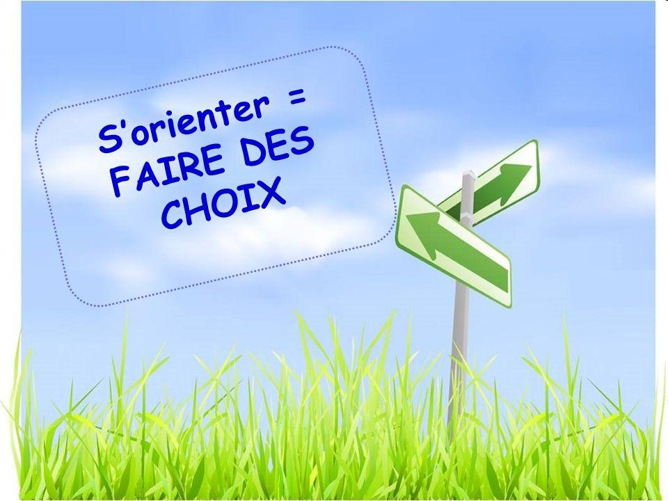 Sorienter = FAIRE DES CHOIX
