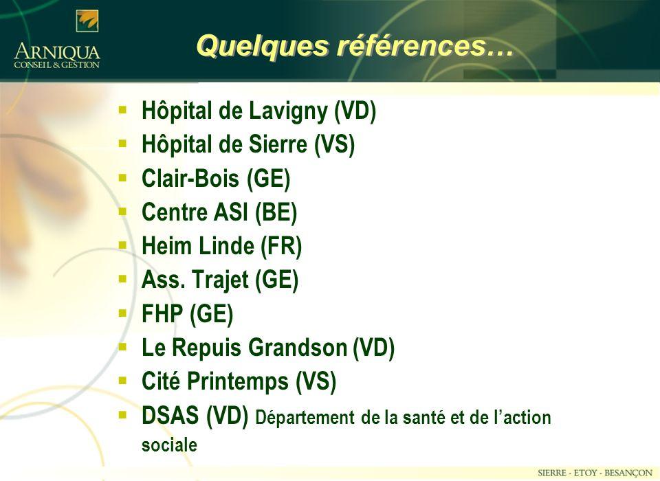 Quelques références… Hôpital de Lavigny (VD) Hôpital de Sierre (VS) Clair-Bois (GE) Centre ASI (BE) Heim Linde (FR) Ass.