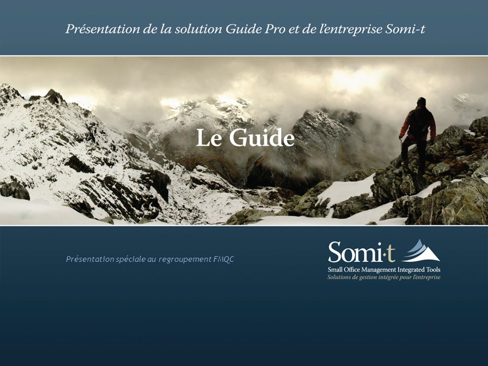 Somi-t > Membres > Compagnie Somi-t : Small Office Management Integrated Tools Solutions de gestion intégrée pour lentreprise Siège social : 550, rue Sherbrooke Ouest, bureau 200, Montréal (Inno-centre, Édifice de la Croix-Bleue) Qui sommes-nous Quest-ce que le Guide Marketing, design et développement Particularités du Guide Site Web corporatif : www.somi-t.com