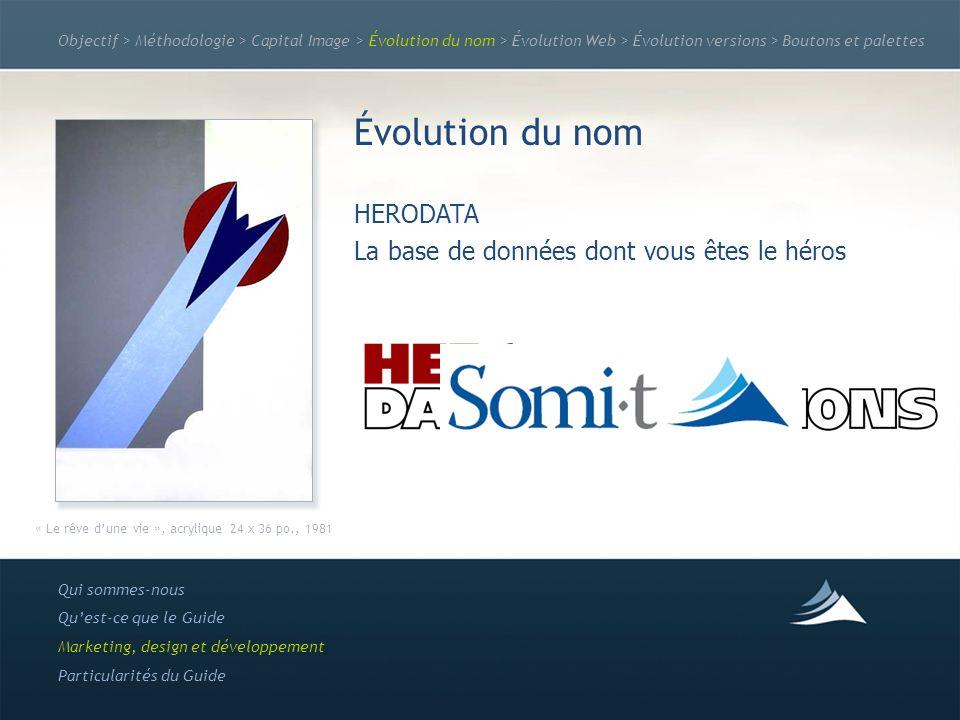 Objectif > Méthodologie > Capital Image > Évolution du nom > Évolution Web > Évolution versions > Boutons et palettes Évolution du nom HERODATA La bas