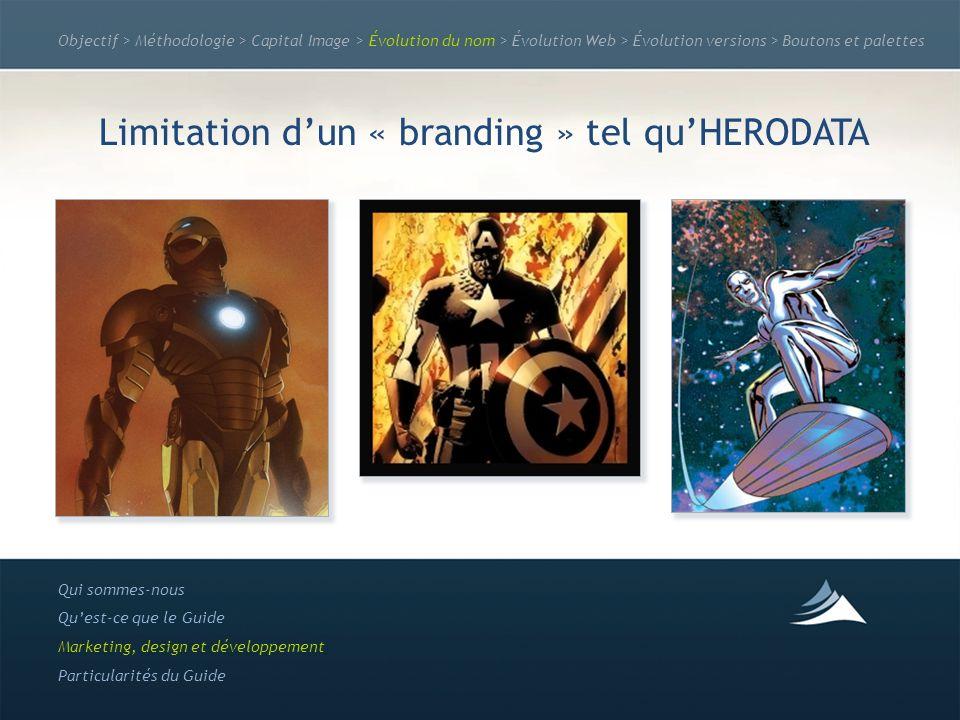 Objectif > Méthodologie > Capital Image > Évolution du nom > Évolution Web > Évolution versions > Boutons et palettes Limitation dun « branding » tel