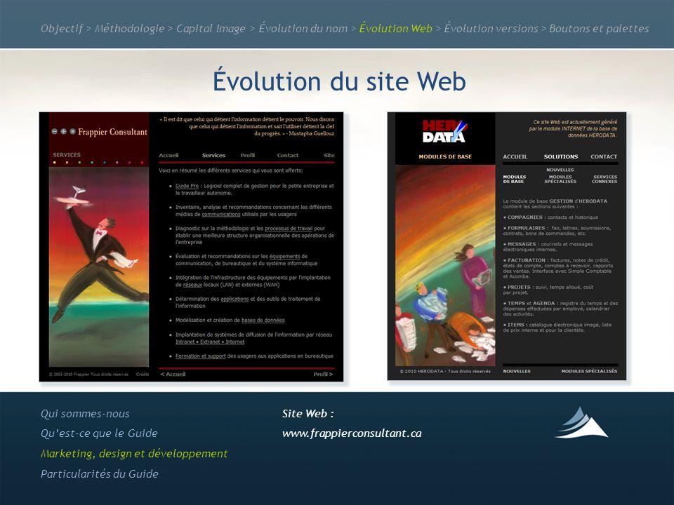 Objectif > Méthodologie > Capital Image > Évolution du nom > Évolution Web > Évolution versions > Boutons et palettes Évolution du site Web Qui sommes