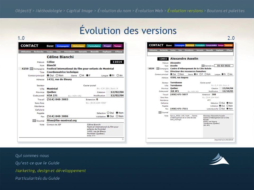Objectif > Méthodologie > Capital Image > Évolution du nom > Évolution Web > Évolution versions > Boutons et palettes Évolution des versions Qui somme