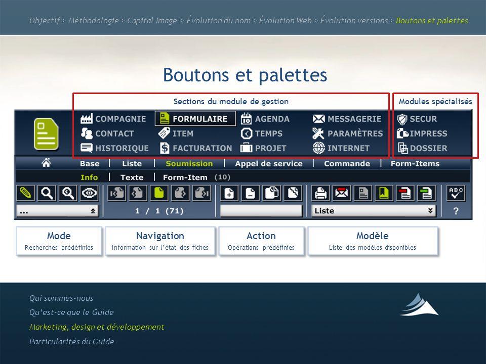 Objectif > Méthodologie > Capital Image > Évolution du nom > Évolution Web > Évolution versions > Boutons et palettes Boutons et palettes Qui sommes-n