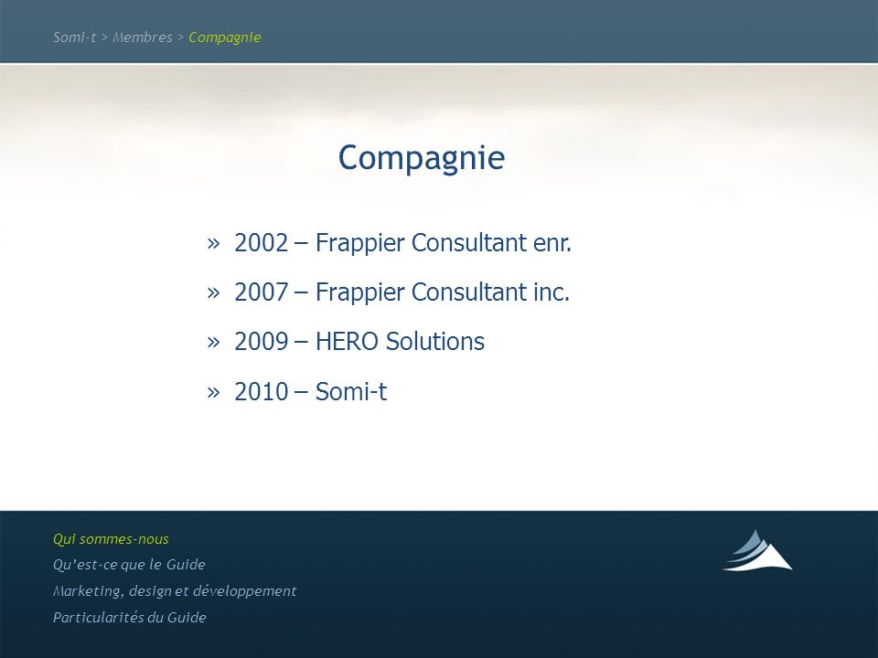 Somi-t > Membres > Compagnie Compagnie »2002 – Frappier Consultant enr. »2007 – Frappier Consultant inc. »2009 – HERO Solutions »2010 – Somi-t Qui som