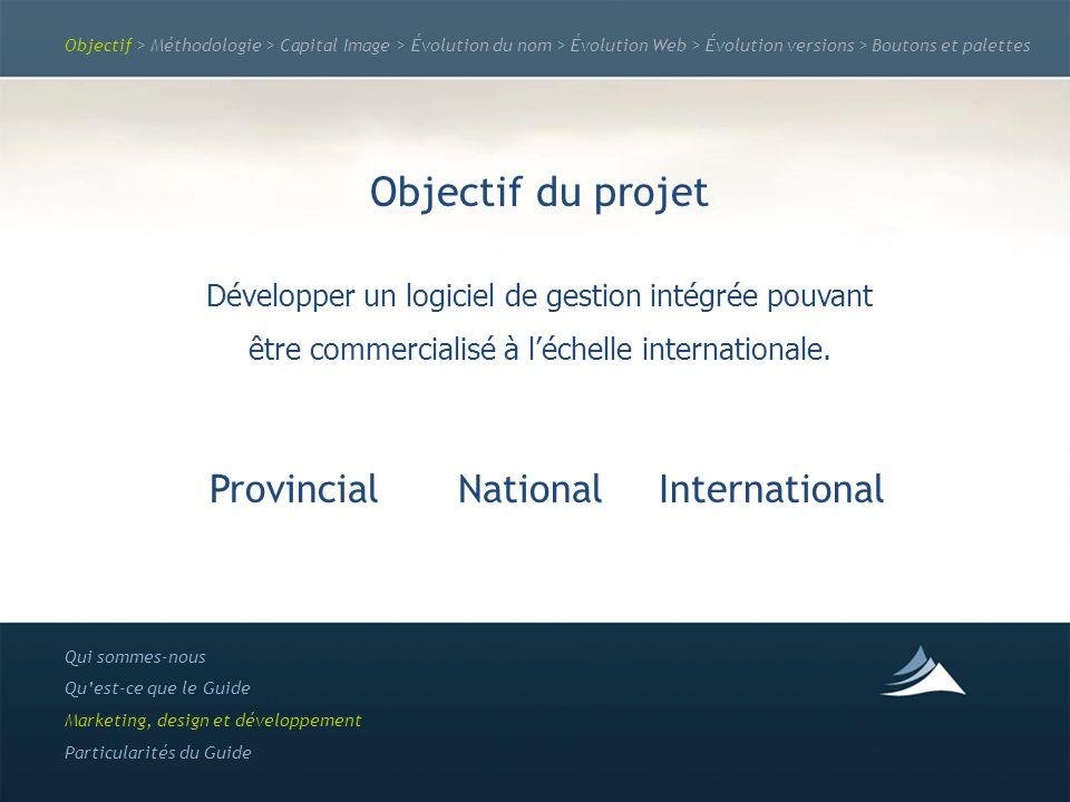 Objectif > Méthodologie > Capital Image > Évolution du nom > Évolution Web > Évolution versions > Boutons et palettes Objectif du projet Développer un logiciel de gestion intégrée pouvant être commercialisé à léchelle internationale.