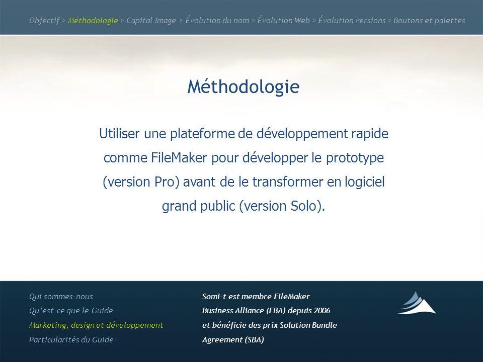 Objectif > Méthodologie > Capital Image > Évolution du nom > Évolution Web > Évolution versions > Boutons et palettes Méthodologie Utiliser une plateforme de développement rapide comme FileMaker pour développer le prototype (version Pro) avant de le transformer en logiciel grand public (version Solo).