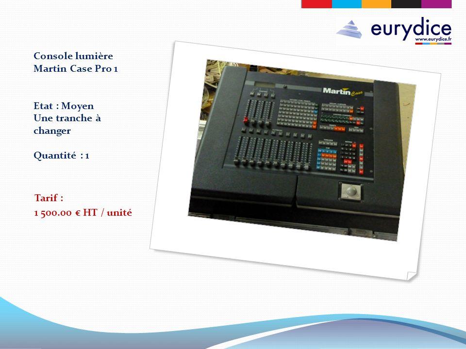 Console lumière Martin Case Pro 1 Etat : Moyen Une tranche à changer Quantité : 1 Tarif : 1 500.00 HT / unité
