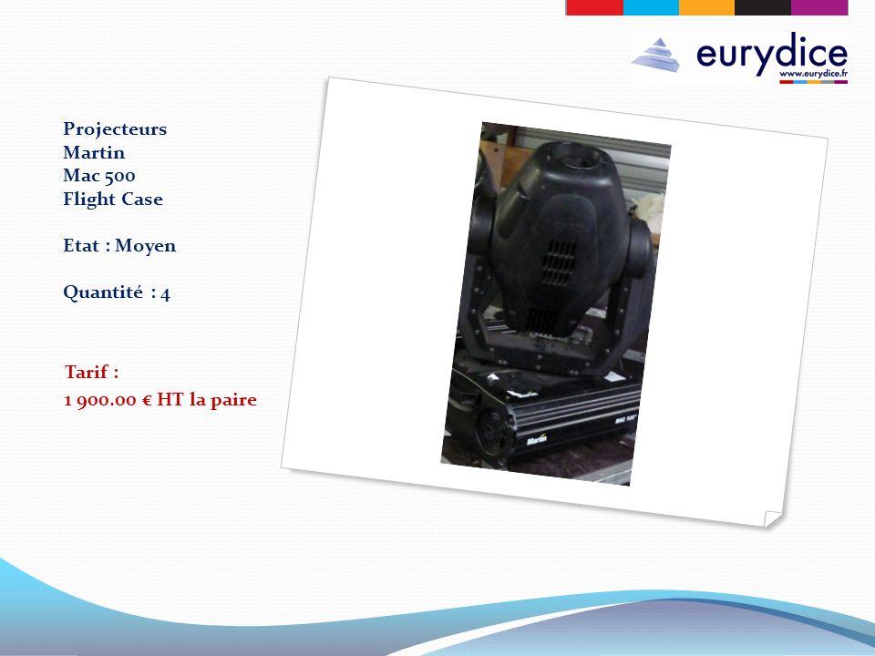 Projecteurs Martin Mac 500 Flight Case Etat : Moyen Quantité : 4 Tarif : 1 900.00 HT la paire