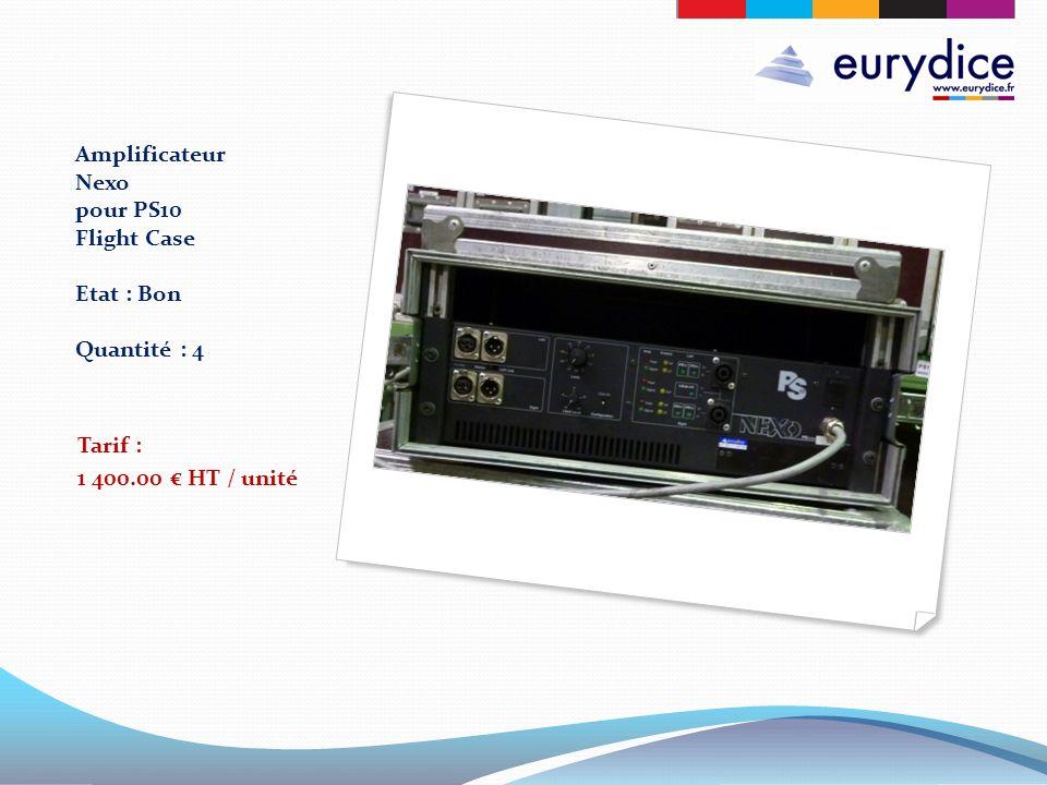 Amplificateur Nexo pour PS10 Flight Case Etat : Bon Quantité : 4 Tarif : 1 400.00 HT / unité