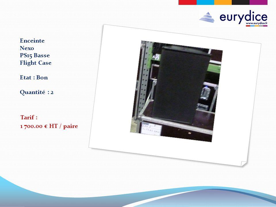 Enceinte Nexo PS15 Basse Flight Case Etat : Bon Quantité : 2 Tarif : 1 700.00 HT / paire