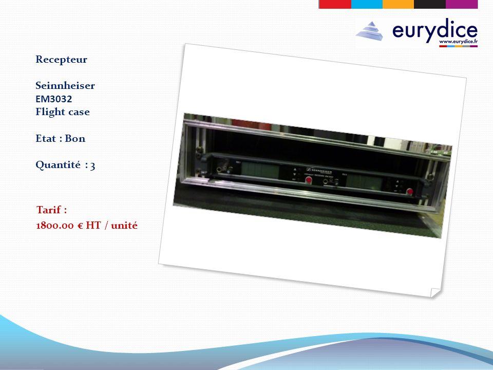 Recepteur Seinnheiser EM3032 Flight case Etat : Bon Quantité : 3 Tarif : 1800.00 HT / unité