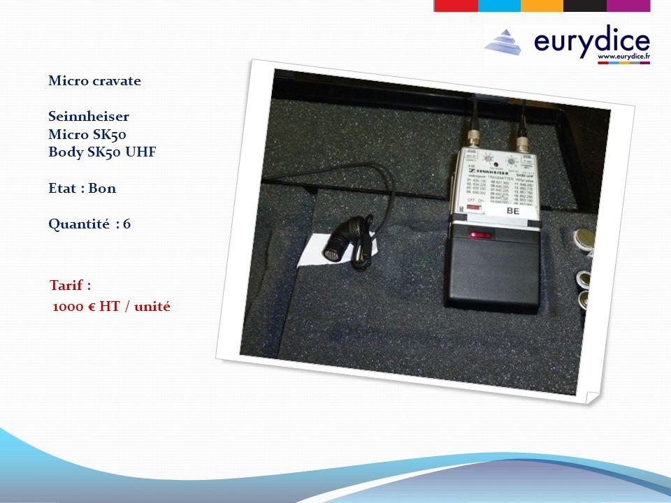Micro cravate Seinnheiser Micro SK50 Body SK50 UHF Etat : Bon Quantité : 6 Tarif : 1000 HT / unité