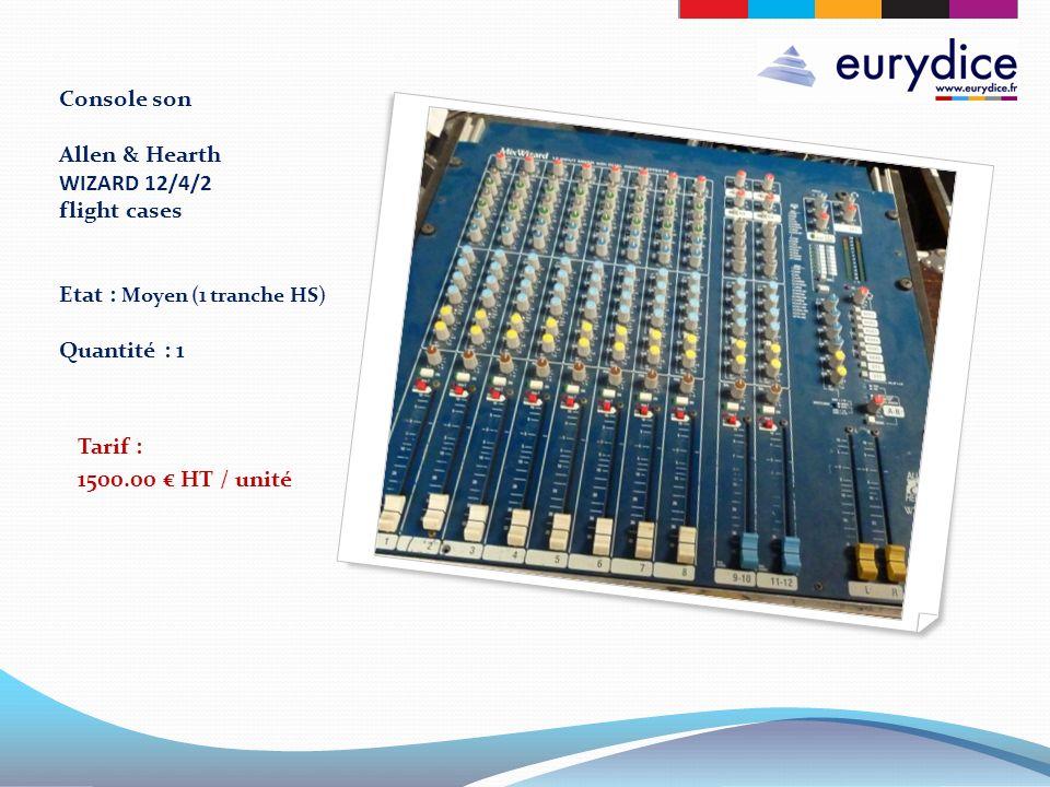 Console son Allen & Hearth WIZARD 12/4/2 flight cases Etat : Moyen (1 tranche HS) Quantité : 1 Tarif : 1500.00 HT / unité