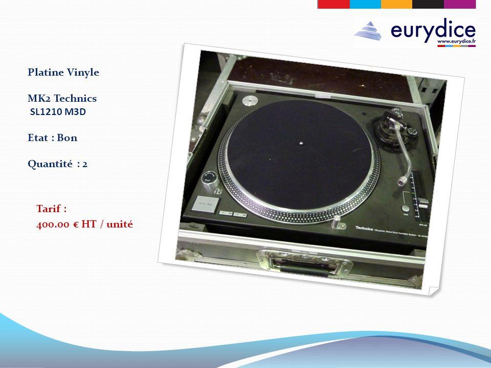 Platine Vinyle MK2 Technics SL1210 M3D Etat : Bon Quantité : 2 Tarif : 400.00 HT / unité